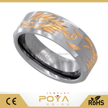 POYA <span class=keywords><strong>Monili</strong></span> 8mm Tungsten Wedding Ring Drago <span class=keywords><strong>Cinese</strong></span> Oro Tono Intagliato A Mano Bordi Smussati Comfort fit