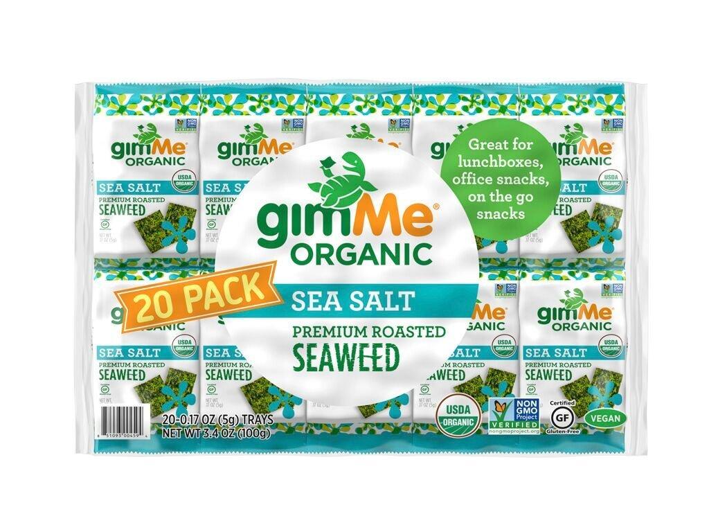 gimMe Snacks Organic Premium Roasted Seaweed, Sea Salt, 0.17 Ounce (5 g) - 20 Count