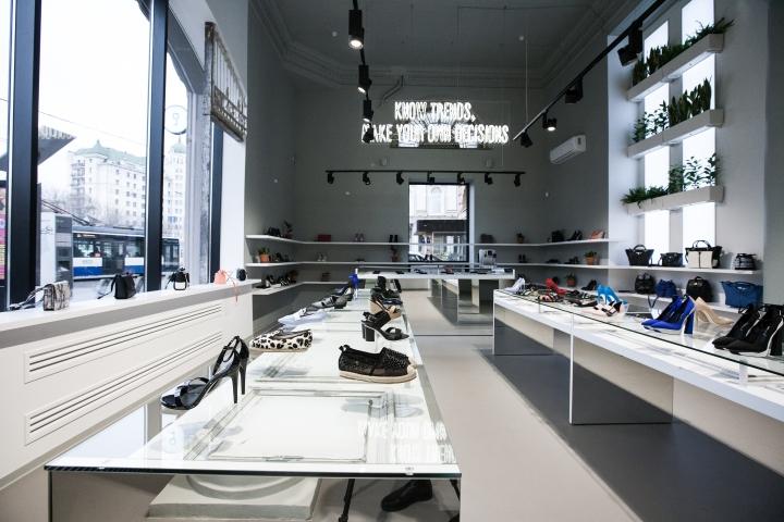 Funroad illuminazione scarpe display vetrina store design per