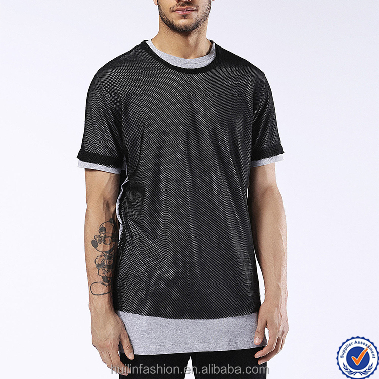 t shirt new products 2017 cotton jersey sports mesh layered crewneck short sleeves custom t shirt