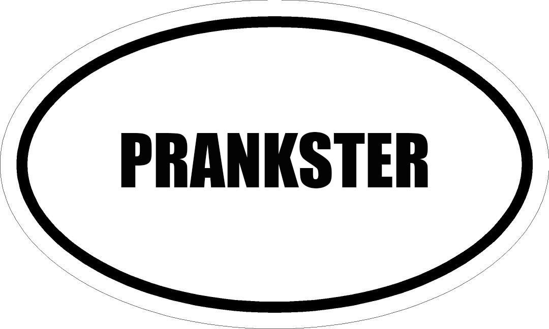 "6"" PRINTED white vinyl PRANKSTER oval Euro impact style vinyl decal sticker"