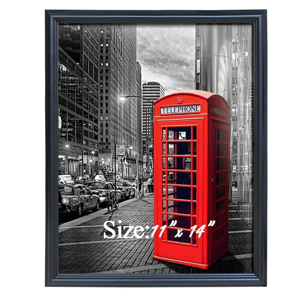PETAFLOP 11x14 Frame Black Picture Frames 11 x 14 Wall and Tabletop Display Poster Frame