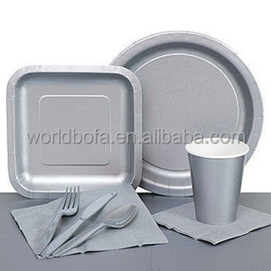 Disposable silver paper cup plate napkin party tableware