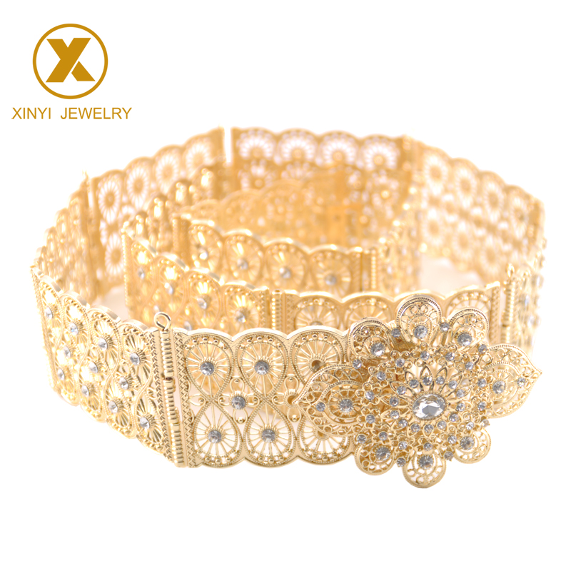Hollow-out metal square buckle waist robe body band jewelry belt wedding bride ornament metal belt