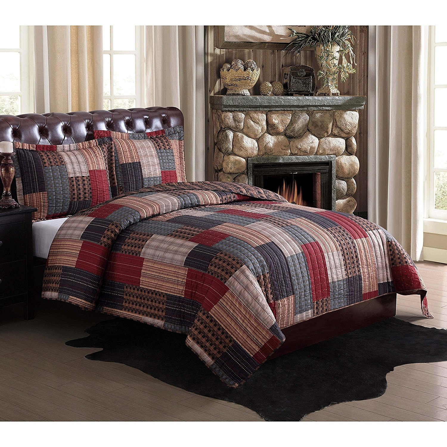 AD 3 Piece Red Blue Patchwork Full Queen Size Quilt Set,Grey Green Brown Cabin Lodge Rustic Southwest Theme Bedding, Gray Checkered Square Rectangle Plaid Pattern Stripe, Polyester