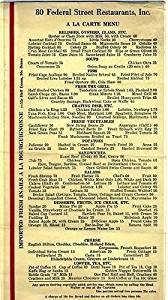 80 Federal Street Restaurants A La Carte Menu 1930's Boston Massachusetts