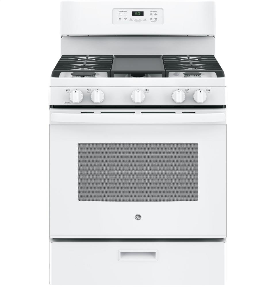 """GE JGBS66DEKWW 30"""" Gas Freestanding Range with 5 Burners, Sealed Burner, 5.0 Cu. Ft. Primary Oven Capacity, Griddle, Self-Cleaning Mode, in White"""