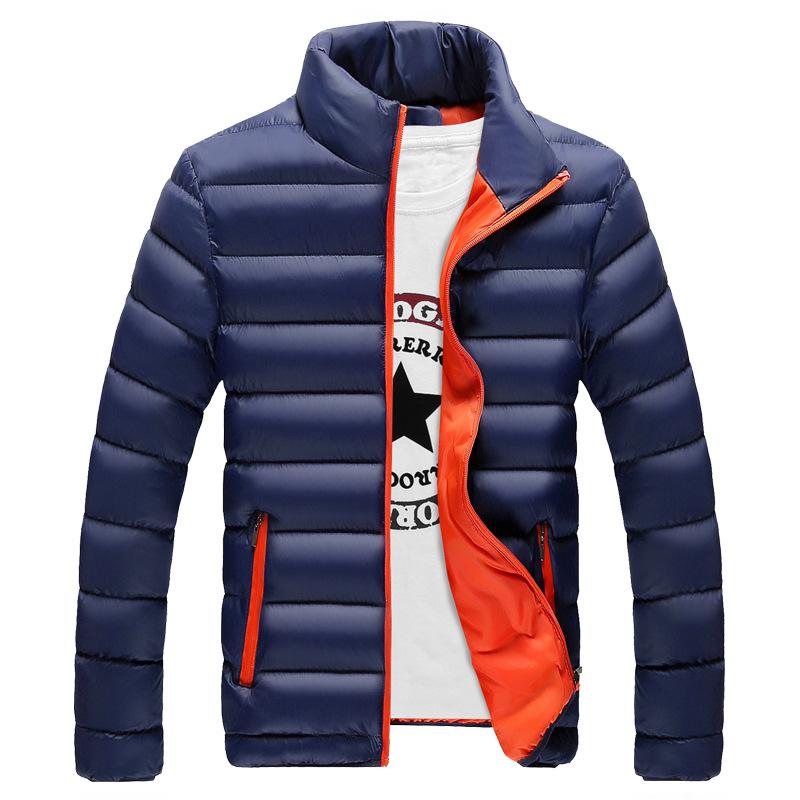79bd4d68a57 2018 invierno moda casual hombres color sólido grueso caliente chaqueta del  collar del soporte con precio