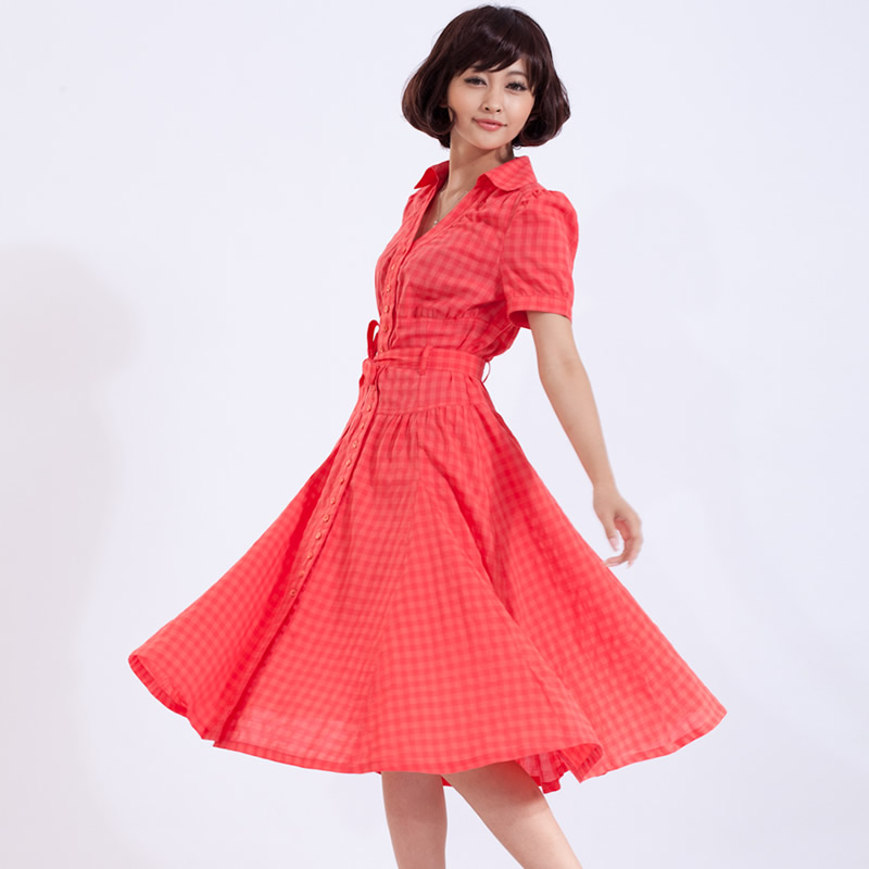 free  shiping Puff sleeve full dress one-piece dress short-sleeve slim over-the-knee skirt summer 100% cotton one-piece dress