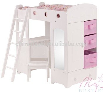Custom Wooden Doll House Bunk Bed For American Girl Doll With
