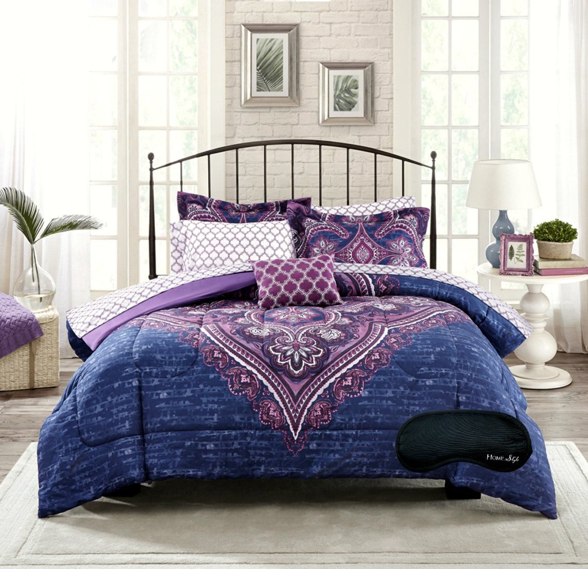 New! Boho Chic Paisley Medallion Damask Blue Purple Twin / Twin XL Teen Girls Comforter, Shams, Sheet Set, Toss Pillow +BONUS Home Style Sleep Mask! (7 Pc. Bedding Bundle) (Twin/Twin XL))