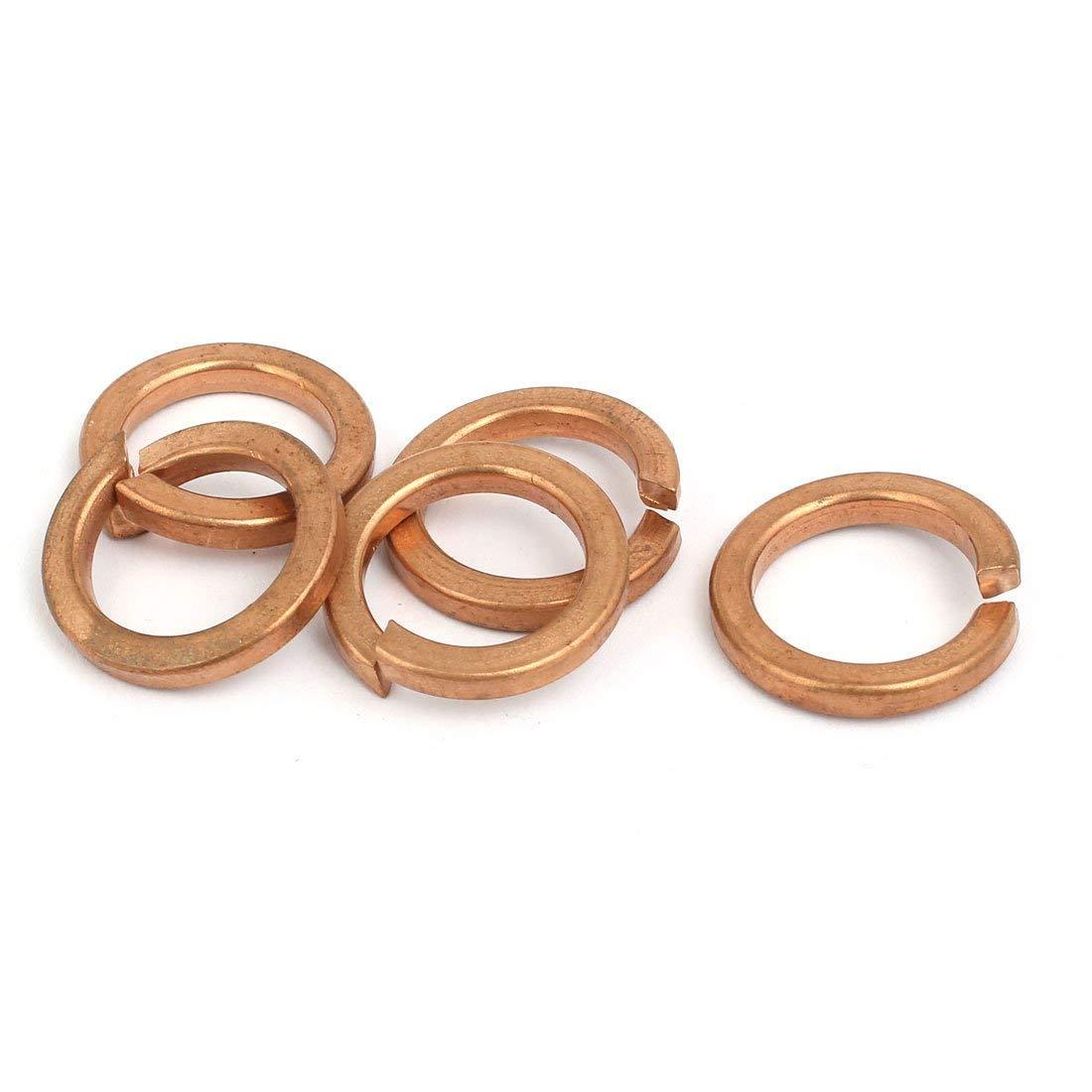 uxcell 16mm Inner Diameter Split Lock Spring Washer Gasket Copper Tone 5pcs