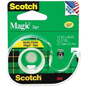 "Wholesale CASE of 25 - 3M Scotch Magic Transparent Tape w/Dispenser-Magic Tape With Dispenser, 1/2"" x 450"", Clear"