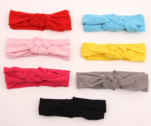 2016 children hair accessories in Europe and the female baby knitting with manual cross hair peace knot with cotton spandex