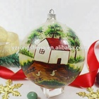Christmas Decoration Glass Balls Withl Hand-Painting House And Tree Patterns