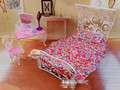 New 2014 Doll Furniture Princess Mirror Bed Set Bedroom Accessories For Barbie Ken Doll Children Baby