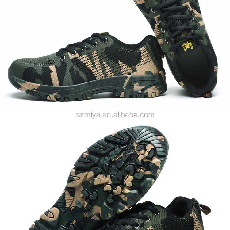 Wholesale breathable camo safety shoes stab-resistant army combat boots men hiking shoes