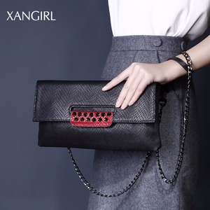 Women's sexy middle handbag high quality genuine leather clutch bag