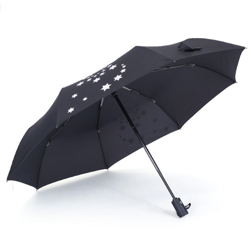 promotional foldable hand held sun umbrella with pouch