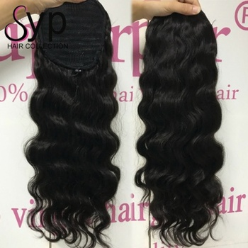 Drawstring Wrap Around Extension Ponytail Real Natural Looking Glossy Clip On Human Hair Pieces For Casual Thin Hair