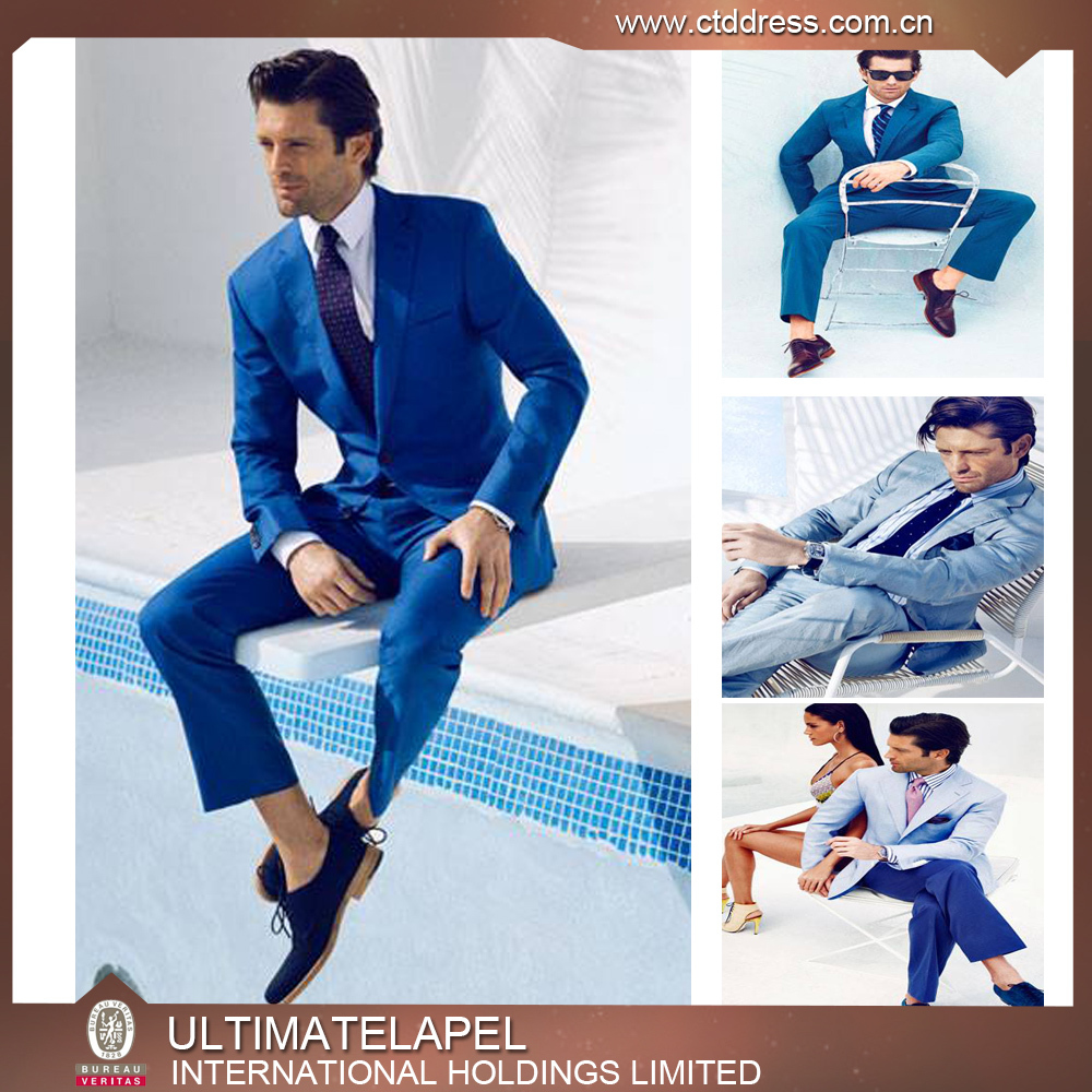 Slim Fit Casual Navy Blue Coat Pant Men Suit For Party In This