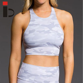 Hot selling high impact sublimation printing camo fitness women sports bra