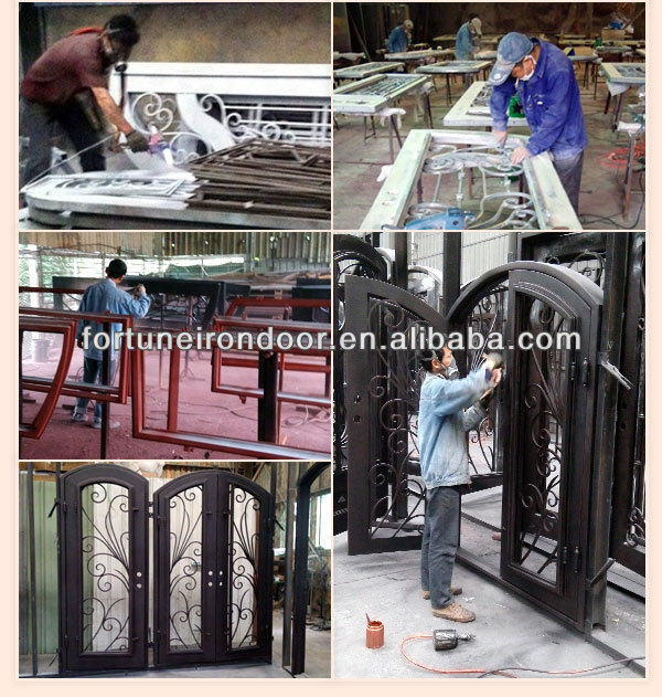 China Produced Cheap Cost double wrought iron doors design With Good Quality 2012