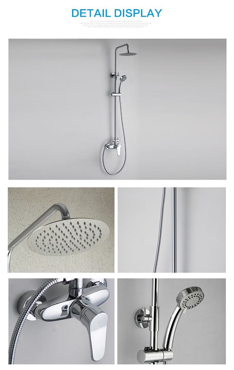 Factory supplier direct sale wall mount shower mixer with ultra thin round shower head