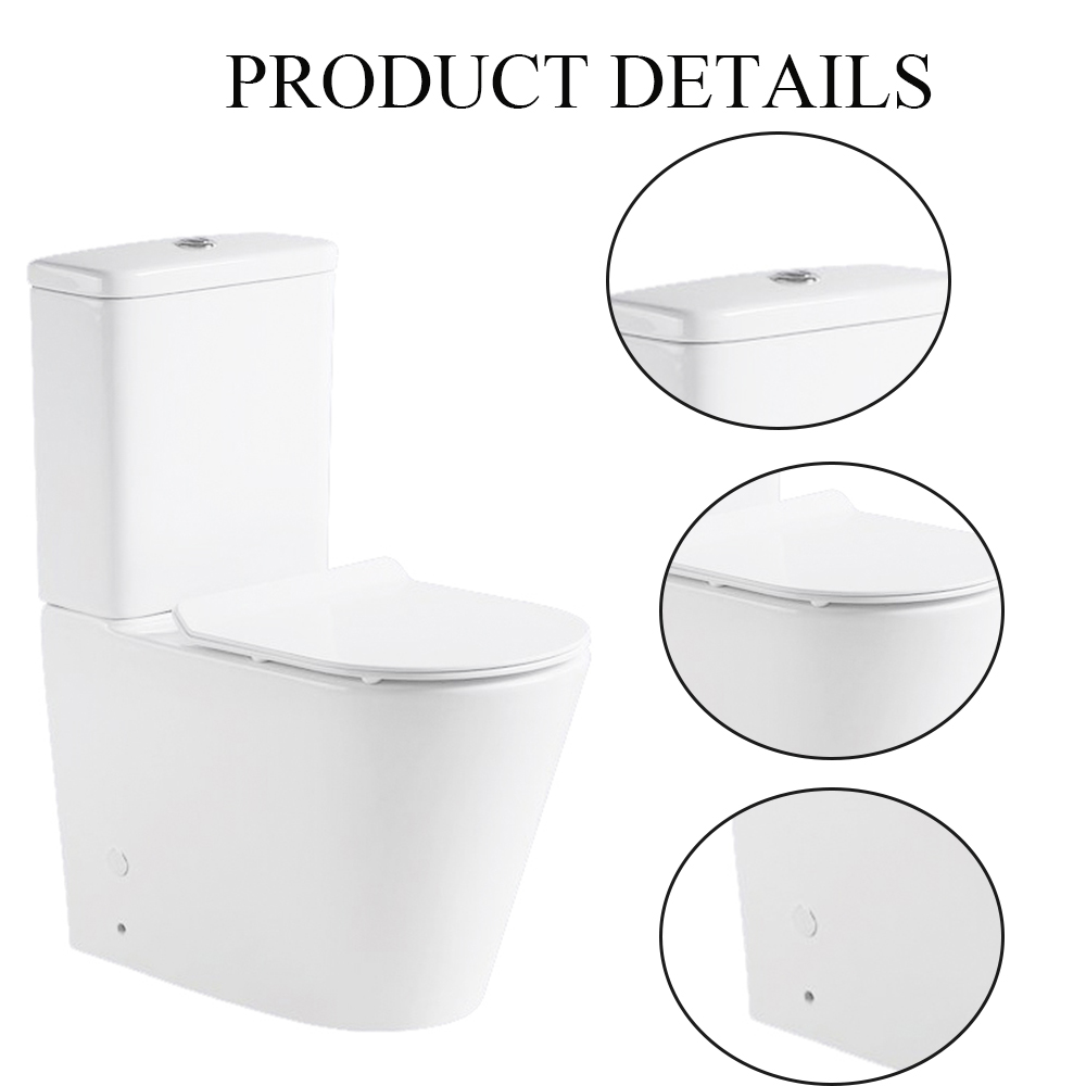 Two Piece Sanitary Ware Bathroom Ceramic Watermark Rimless Toilet Suite