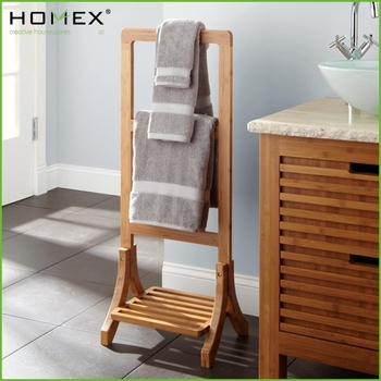 Bamboo Towel Rack Rail Floor