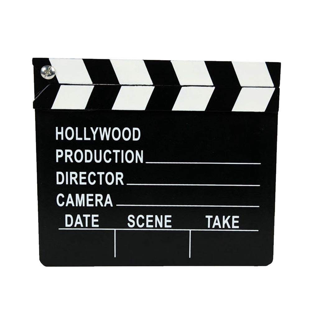 BYBYCD Director's Film Movie Clapboard, Clapper Chalkboard Cut Action TV Movie Scene Clapper Board Slate with Black Sticks