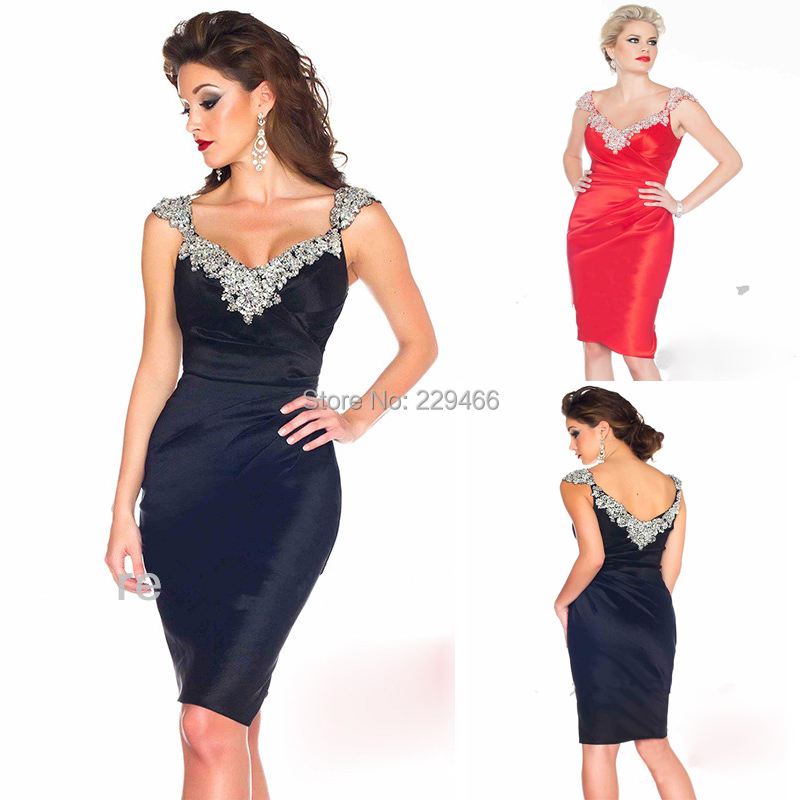 1b1656db Get Quotations · SS81 New Model Hotsale Sparkly Beaded Black , Red Cap  Straps Short Sheath Sexy Cocktail Dress
