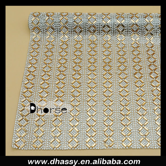 40*24CM Wholesale crystal rhinestone mesh sheet for shoes decoration