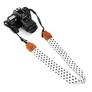 CHMETE Soft Cotton Polka Dots Universal Adjustable Camera Shoulder Neck Strap for DSLR Camera Polaroid Fujifilm (White)