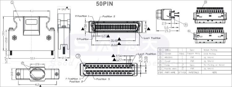 Scsi Connector 3m Te Amp Mloex 14p 20p 26p 36p 50p Male