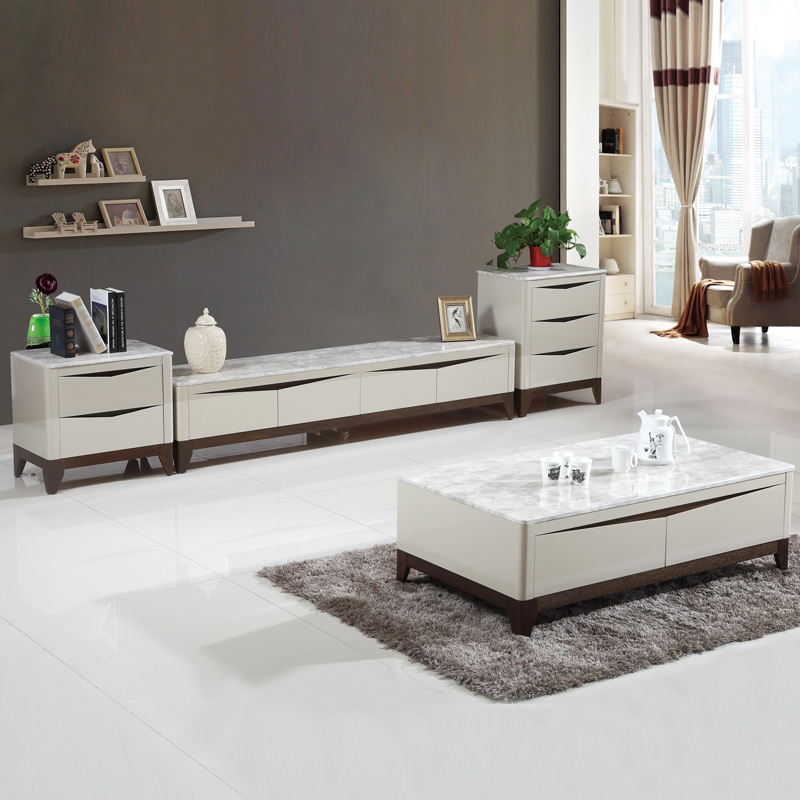 European style modern design livining room furniture set white marble top LED LCD TV stand cabinets with drawer cabinet