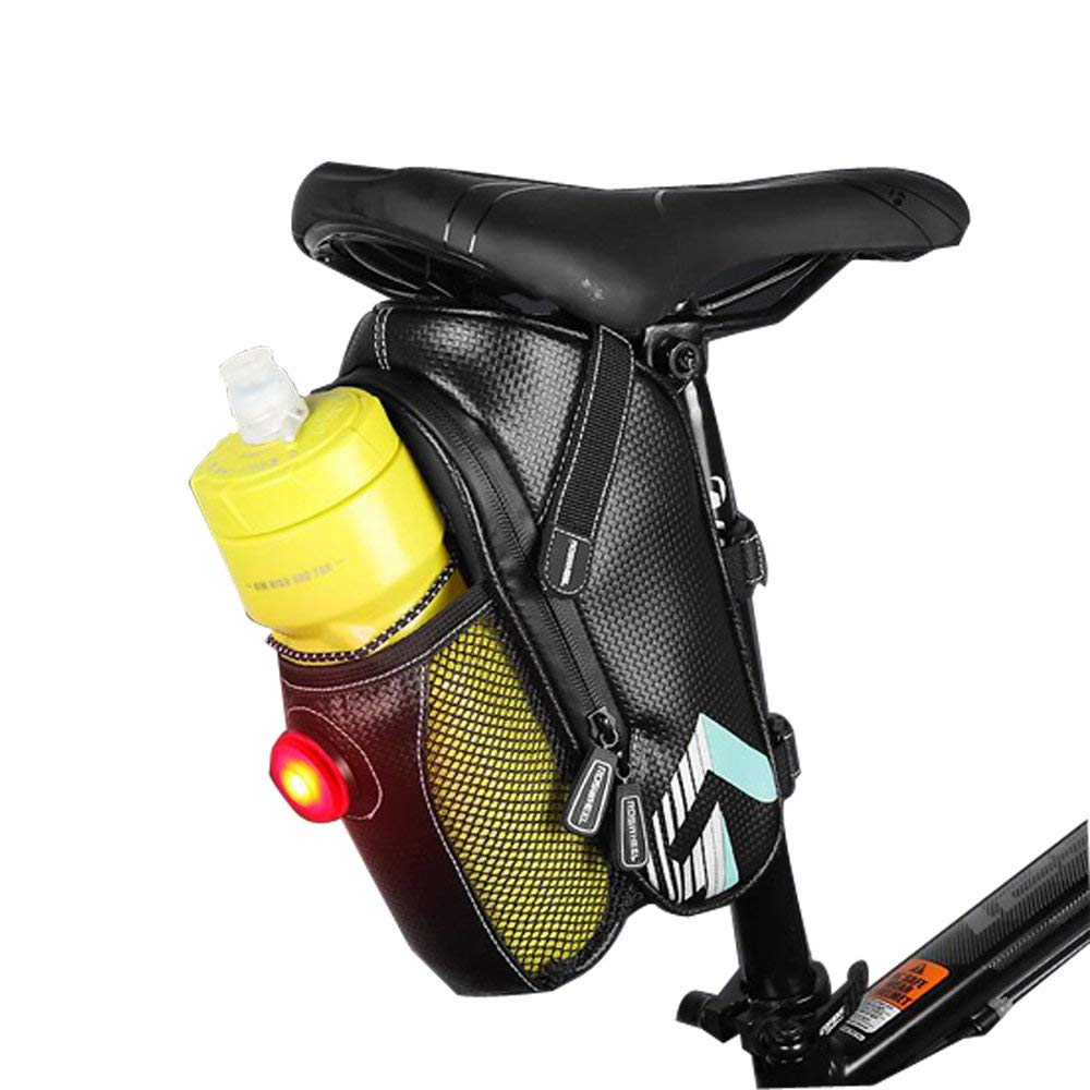 Bike Seat Saddle Wedge Pack Bag,YiCol Mountain Road MTB Cycling Bicycle Pack Pannier Storage Saddle Bag with Taillight for Repair Tools,Phone,Key and Other Things(Bottle Not Included)