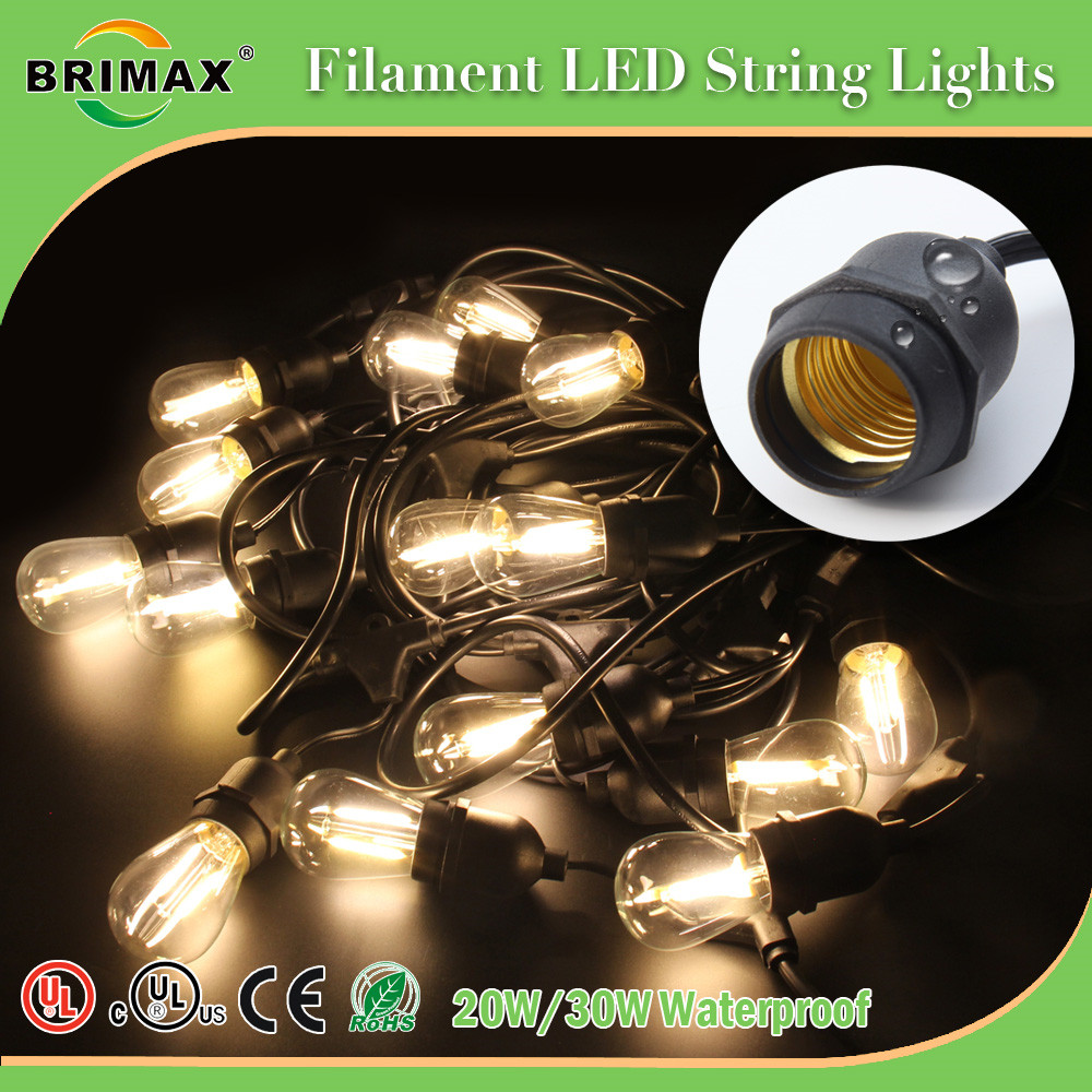 Brimax 48 Ft Amber LED Outdoor String Lights with 15 Lights Commercial Weatherproof Patio String Lights