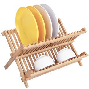 Kitchen Drying Utensils Collapsible Wooden Dish Drainer Plate Dish Drying Rack