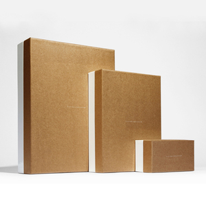 wholesale small custom brown paper rigid square kraft gift box with lid