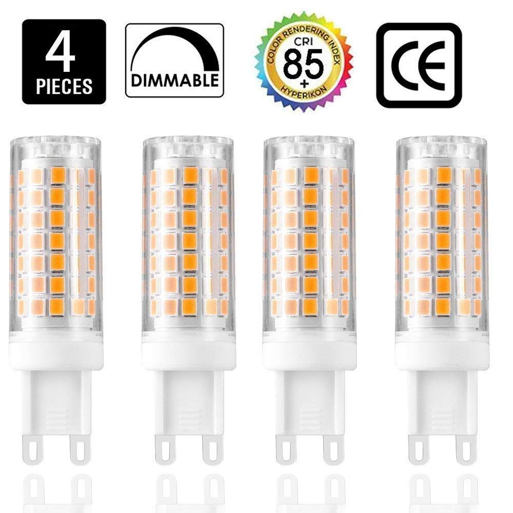 G9 led Light Bulbs 75W 100W Replacement, Dimmable g9 led Bulbs,Halogen Bulbs Equivalent 850lm, AC110V 120V 130 Voltage Input, Warm White 3000K(Pack of 4)