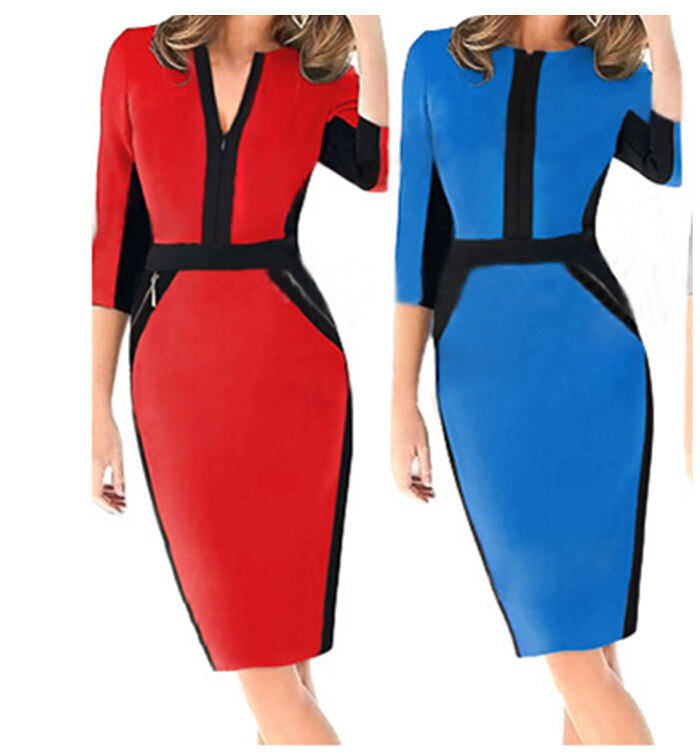be4bf15e7db76 Get Quotations · Fashion Sexy Summer dress Pencil dress V-Neck Patchwork  Before and after the Zipper Party