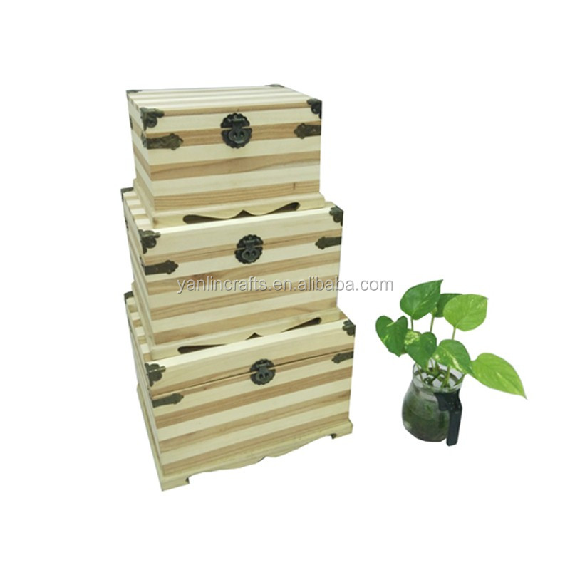 Wholesale natural color wood packaging box big wooden display box with lock