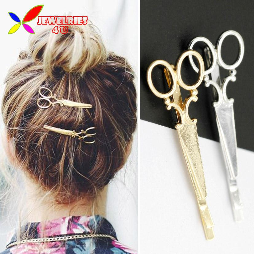 2016 Hot Hairpins Fashion Trendy Lovely Gold Silver Metal Scissors Hair Clips For Women Jewelry Accessories Pinzas De Pelo