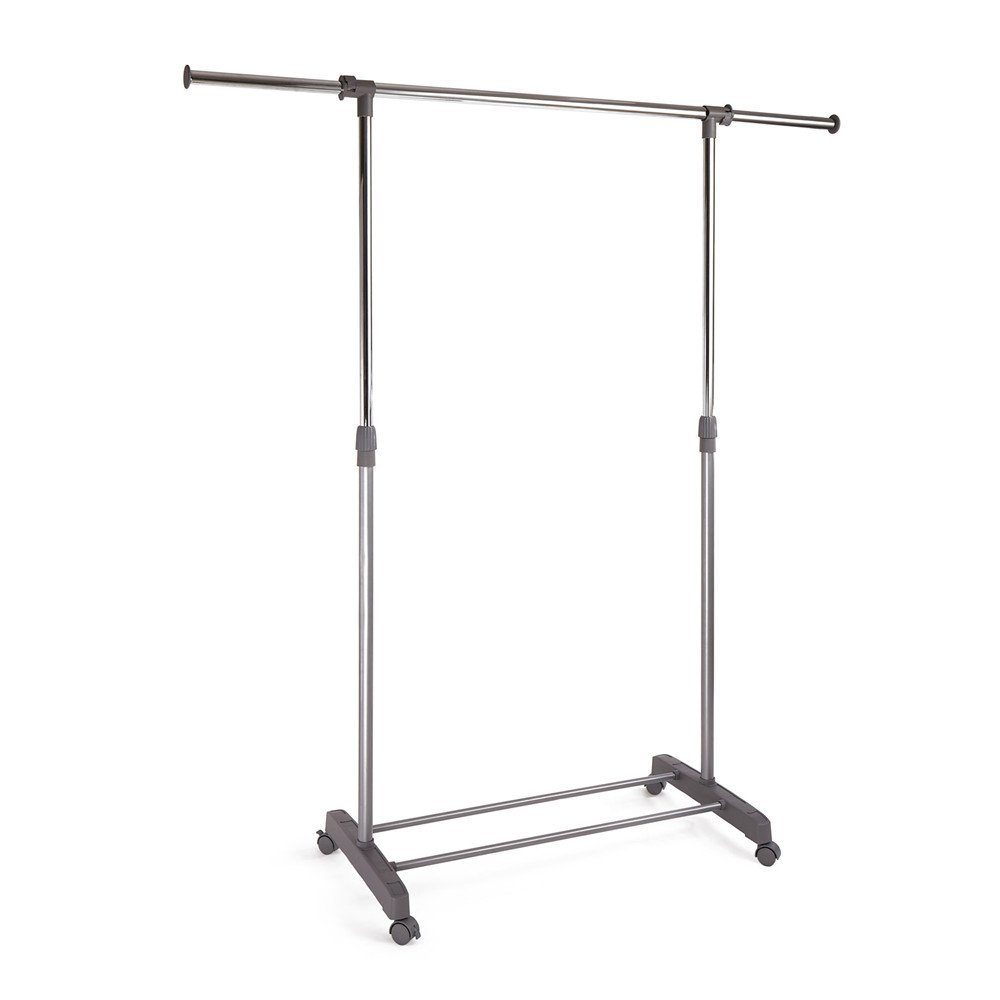 Premium Duty Single/Double Rail Adjustable Portable Rolling Clothes rack Hanger Telescopic Garment Rack