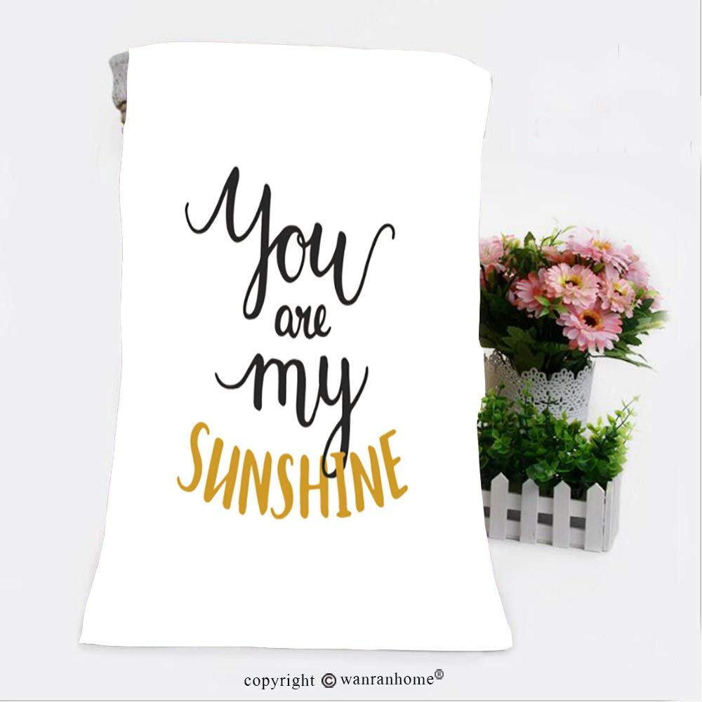 """VROSELV Cotton Microfiber Bathroom Bath Towel-you are my sunshine romantic card with handdrawn lettering love quote handlettering on white Custom pattern of household products(11.8""""x35.4"""")"""