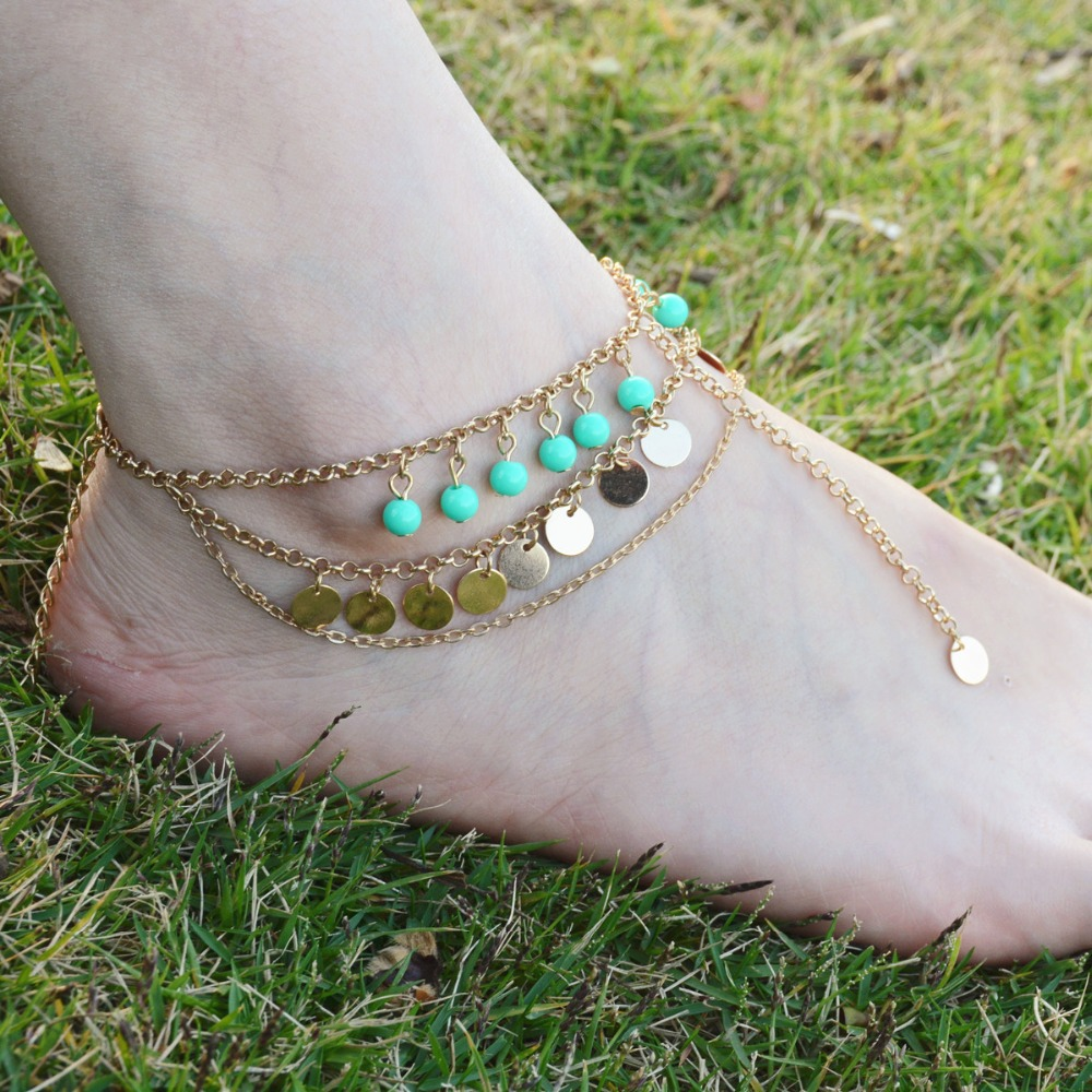 locking anklet Turquoise beads 18k gold ankle bracelets anklets for women