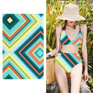 Polyester Spandex Swimwear Digital Printing Stretch Swim Fabric By The Yard