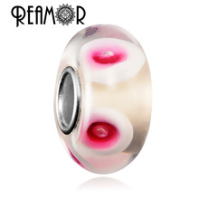 REAMOR 4mm Rode Bloem Lampwork Europese Wit Murano Glass Bead <span class=keywords><strong>Voor</strong></span> Armband <span class=keywords><strong>Sieraden</strong></span> <span class=keywords><strong>Maken</strong></span>