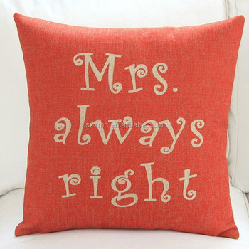Red Color Aphorism Fabric Painting Designs Plastic Sofa Pillow Cushion Cover
